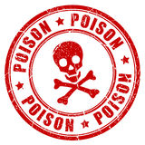Poison danger rubber stamp. Poison danger vector rubber stamp Royalty Free Stock Images
