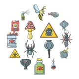 Poison danger toxic icons set, cartoon style. Poison danger toxic icons set. Cartoon illustration of 16 poison danger toxic vector icons for web Stock Photos