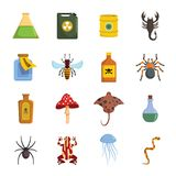 Poison danger toxic icons set, flat style. Poison danger toxic icons set. Flat illustration of 16 poison danger toxic icons for web stock illustration