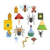 Poison danger toxic icons set, flat style. Poison danger toxic icons set. Flat illustration of 16 poison danger toxic icons for web royalty free illustration