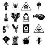 Poison danger toxic icons set, simple style. Poison danger toxic icons set. Simple illustration of 16 poison danger toxic vector icons for web Royalty Free Stock Photo