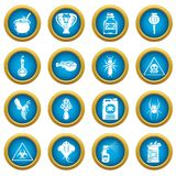 Poison danger toxic icons set, simple style. Poison danger toxic icons set. Simple illustration of 16 poison danger toxic vector icons for web Stock Image