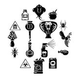 Poison danger toxic icons set, simple style. Poison danger toxic icons set. Simple illustration of 16 poison danger toxic vector icons for web Royalty Free Stock Photography