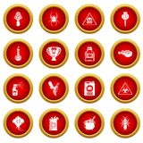 Poison danger toxic icons set, simple style. Poison danger toxic icons set. Simple illustration of 16 poison danger toxic vector icons for web Stock Images