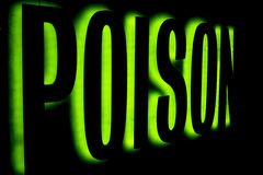 Poison. Green Glowed outline of the word poison Stock Photo