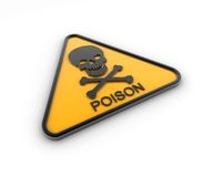 Poison Hazard Sign. 3D render of poison hazard sign Stock Photos