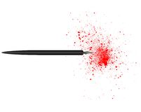 Poison Pen 2. Black pen spewing spray of blood-red ink. Can denote libel or the red ink of debt stock illustration