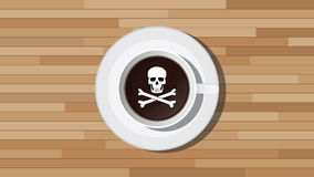 Poison poisonous coffee illustration with skull sign. Vector Stock Photo