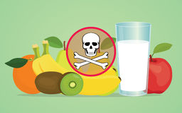 Poison poisonous fruit with skull symbol. Vector illustration Royalty Free Stock Photos
