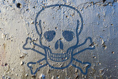 Poison Skull Symbol. A skull as poison symbol on a silver paint texturized wall royalty free stock photo