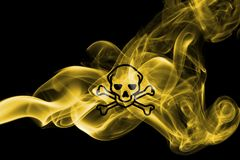 Poison smoke sign flag isolated on a black background. Poison smoke sign flag isolated on a black background Royalty Free Stock Image