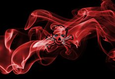 Poison smoke sign flag. Isolated on a black background Stock Images