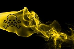 Poison smoke sign flag. Isolated on a black background Royalty Free Stock Photos