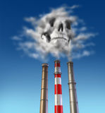 Poison smoke stack. With skull cloud over a dirty chimney royalty free illustration