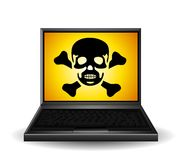 Poison Symbol on Laptop Royalty Free Stock Photo