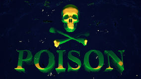 Poison. Warning human skull plate sinks into the green liquid vector illustration