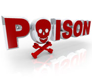 Poison Word Skull and Crossbones Death Kill Symbol. The word Poison in 3D red letters with a skull and crossbones in place of the first letter O, symbolizing royalty free illustration