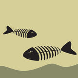 Poisoned Dead Fish On The Shore Cartoon illustration Stock Photography