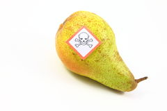 Poisoned fruits and vegetables. By Pestiziede poisoned fruit and vegetables in a fruit bowl-cut out Royalty Free Stock Photography