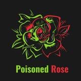 Poisoned rose. Dangerous one. Stylized bud of rose. Poison and dangerous Stock Photo
