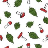 Seamless poisonous blody-red amanita mushrooms and green stinging nettle leaves pattern texture element on white background. Seamless poisonous blody-red amanita Stock Photo