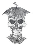 Poisonous apple, pencil drawing. Poisonous apple to the skull, pencil drawing Royalty Free Stock Photos