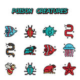 Poisonous creatures cartoon concept icons Stock Photography