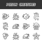 Poisonous creatures cartoon concept icons. Vector illustration, EPS 10 Stock Photo