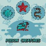 Poisonous creatures flat concept icons Stock Photo