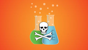 Poisonous dangerous liquid in bottle with skull and bone symbol Royalty Free Stock Photos