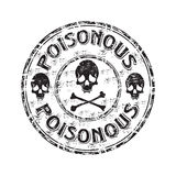 Poisonous grunge rubber stamp. Black grunge rubber stamp with skulls, crossbones and the word poisonous written inside the stamp Stock Image