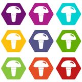 Poisonous mushroom icon set color hexahedron Stock Photography