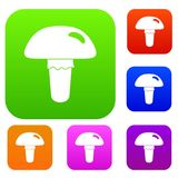 Poisonous mushroom set color collection Royalty Free Stock Photo
