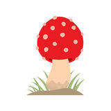 Poisonous red mushroom nature food vegetarian healthy autumn edible and fungus organic vegetable raw ingredient vector. Illustration. Gourmet poison not eating Stock Photography