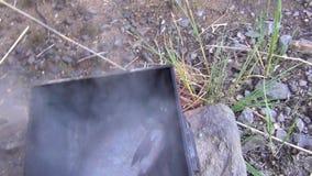 Poisson d'eau douce dans le fumoir en métal Fond de nourriture Milieux extérieurs banque de vidéos