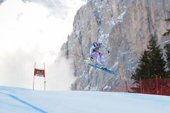 POISSON David (FRA). VAL GARDENA, ITALY - DECEMBER 21:  POISSON David (FRA) races down the Saslong competing in the Audi FIS Alpine Skiing World Cup MEN'S Royalty Free Stock Photography