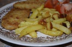 Poisson-frites cuits au four sur le palte de porcelaine photos stock