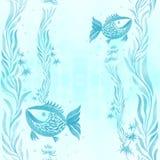 Poissons, algues, vésicules - composition décorative watercolor Configuration sans joint Employez les matériaux imprimés, signes, illustration de vecteur