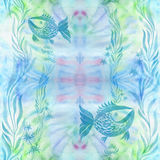 Poissons, algues, vésicules - composition décorative watercolor Configuration sans joint Employez les matériaux imprimés, signes, illustration libre de droits