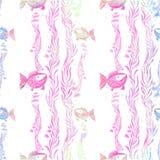 Poissons, algues, vésicules - composition décorative watercolor Configuration sans joint Employez les matériaux imprimés, signes, illustration stock