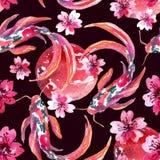 Poissons asiatiques de koi d'aquarelle Image stock