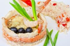 Poissons avec du riz et des légumes Image stock