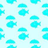 Poissons avec le modèle de parapluie Photos libres de droits