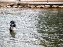 Poissons contagieux d'homme flyfishing Images libres de droits