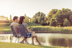 Poissons contagieux de couples Photographie stock