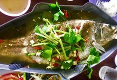 Poissons cuits à la vapeur en sauce à citron Nourriture thaïe - friture #6 de Stir photo libre de droits