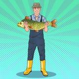 Poissons d'Art Happy Fisherman Holding Big de bruit Bon loquet illustration stock