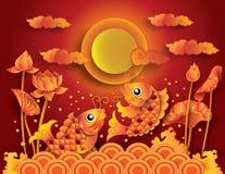 Poissons d'or de koi avec le fullmoon Photos libres de droits