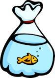 poissons dans une illustration de vecteur de sachet en plastique Images stock