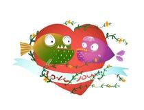Poissons de bande dessinée dans l'amour avec le coeur rouge pour des enfants Image libre de droits